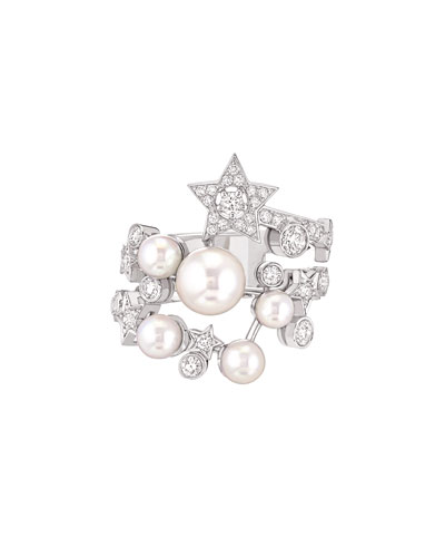 COMÈTE Ring in 18K White Gold, Cultured Pearls and Diamonds