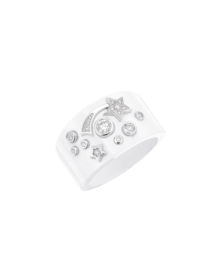 COSMIQUE Ring in 18K White Gold, White Ceramic & Diamonds