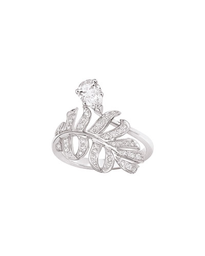PLUME Ring in 18K White Gold with Diamonds