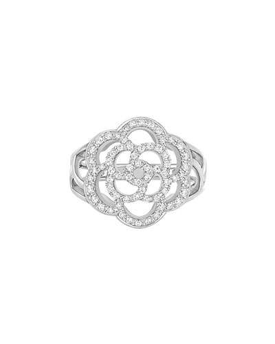 CAMELIA Ring in 18K White Gold with Diamonds
