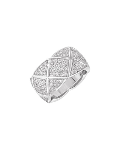 COCO CRUSH Ring in 18K White Gold with Diamonds, Medium Version