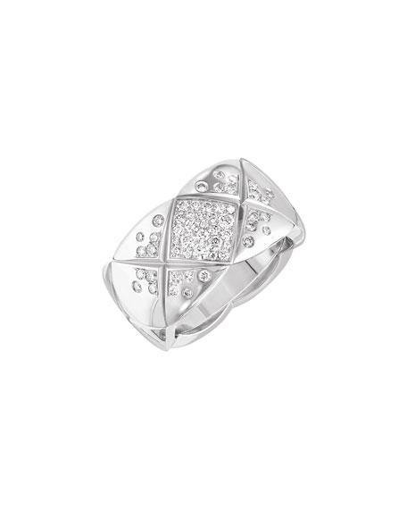 COCO CRUSH Ring in 18K White Gold with Diamonds, Medium Version