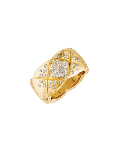 COCO CRUSH Ring in 18K Yellow Gold with Diamonds, Medium Version
