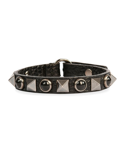 Rockstud Rolling Noir Leather Bracelet