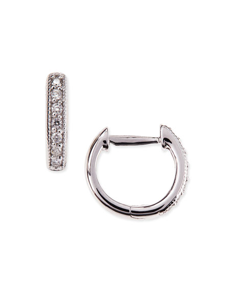 Jude Frances Small 18K White Gold Huggie Hoop
