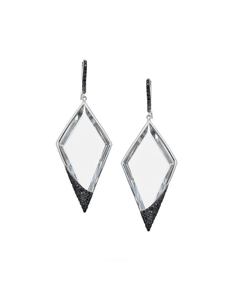 Reckless Crystal Kite 14k Drop Earrings with Black Diamonds