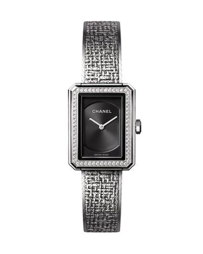 BOY·FRIEND Tweed Small Steel Watch with Diamond Bezel