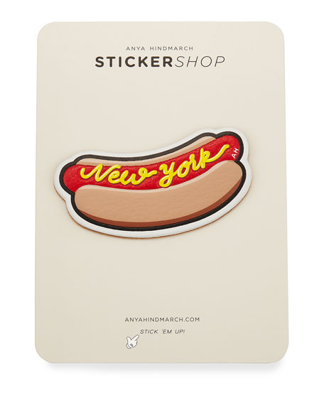 New York Hot Dog Sticker for Handbag, Red