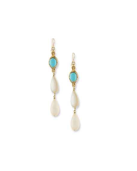 Penda Light Horn & Turquoise Drop Earrings