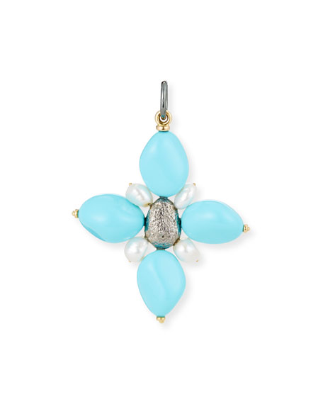Turquoise Cross Charm with Pearls