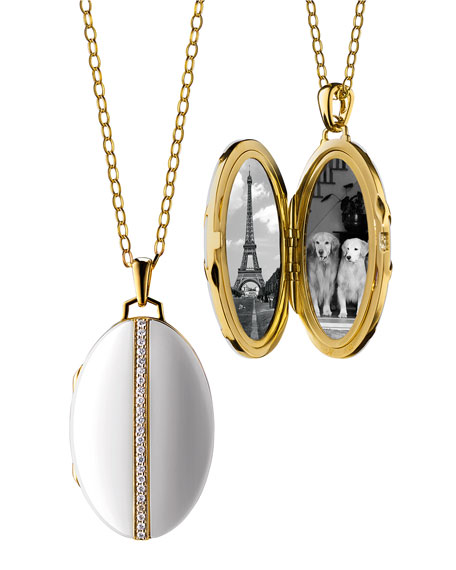Oval White Ceramic Locket