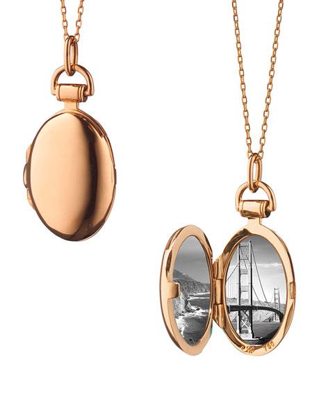 "Anna 18k Rose Gold Petite Locket Necklace, 17""L"