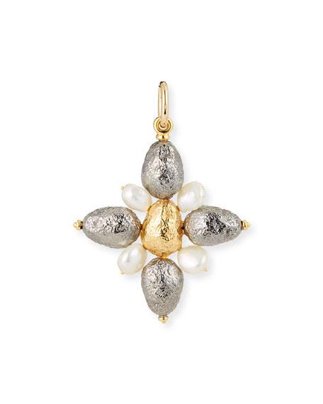 GRAZIA AND MARICA VOZZA Black Silver Cross Charm With Pearls in Unassigned