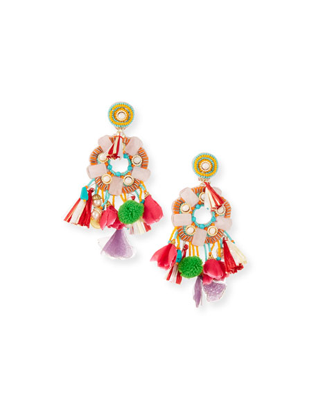 Multicolor Beaded Charm Clip-On Earrings