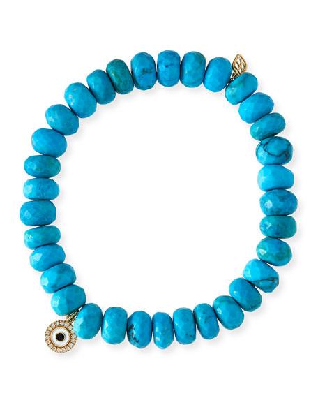 Sydney Evan 8mm Dark Turquoise Beaded Bracelet W 14k Diamond Evil Eye Charm