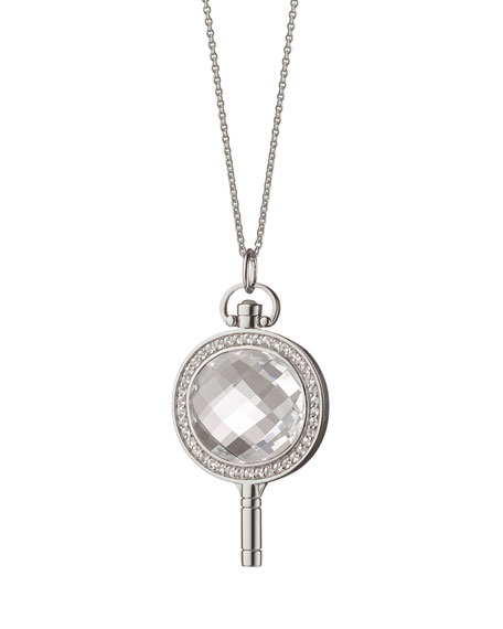 Oval Moonstone & White Sapphire Necklace