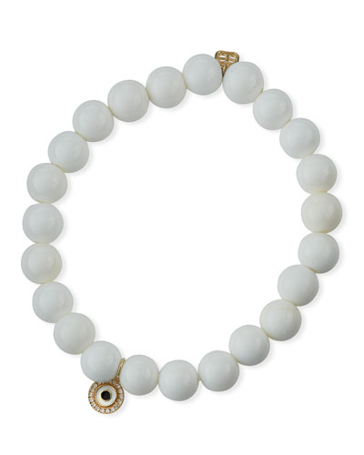 14k Diamond & Enamel Evil Eye Bead Bracelet