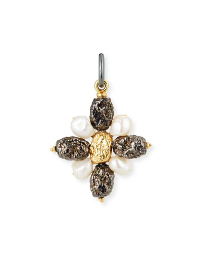 Black Silver Cross Nugget Charm with Pearls