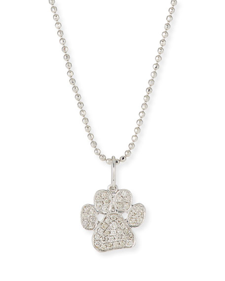 SYDNEY EVAN 14K WHITE GOLD & DIAMOND PAW PENDANT NECKLACE, 16""