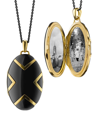 Oval Black Ceramic Chevron Locket, 30
