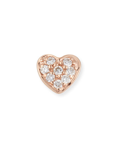 14k Diamond Heart Single Stud Earring