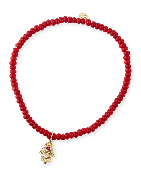 3mm Beaded Coral Bracelet with Diamond Hamsa Pendant