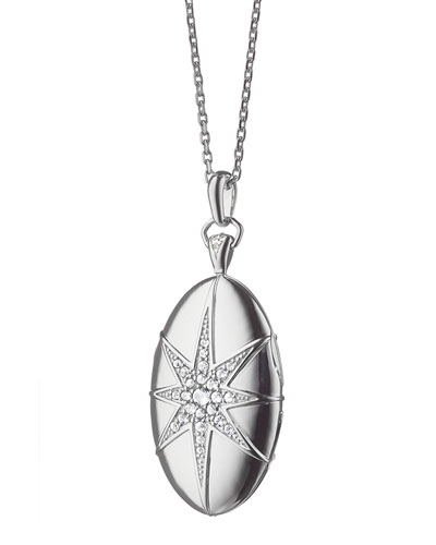 White Sapphire Star Locket Necklace