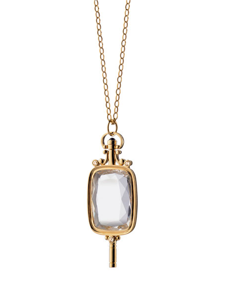 Rock Crystal Rectangular Key Necklace
