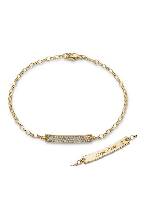 "18K Yellow Gold Diamond Pave ""Carpe Diem"" Petite Poesy Bracelet"