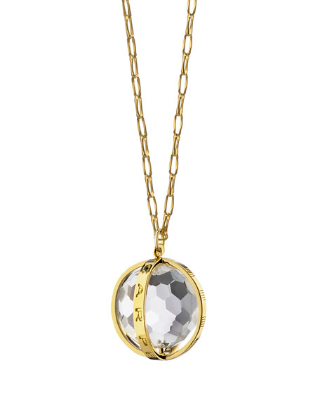 "18K Carpe Diem Rock Crystal Charm Necklace on 30"" Delicate Chain"