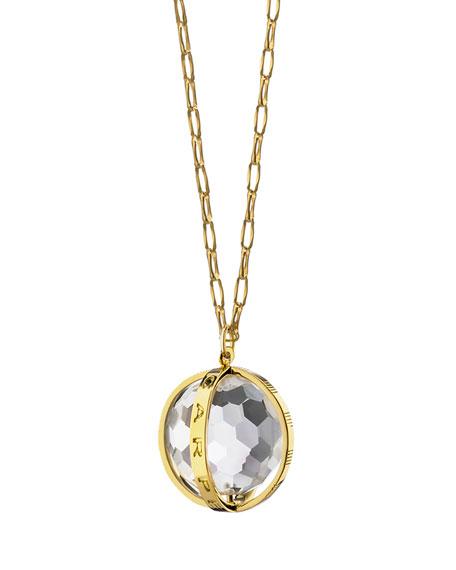 "18K Carpe Diem Rock Crystal Charm Necklace on 30"" Delicate Chain"