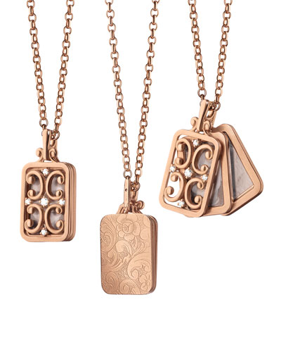 Gate Locket 18k Rose Gold Necklace with Diamonds  18