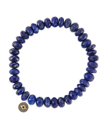 8mm Faceted Lapis Beaded Bracelet with 14k Gold/Diamond Round Evil Eye Charm (Made to Order)