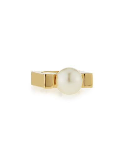 Darcey Simulated Pearl Square Ring