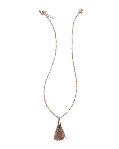 Small Silvertone Chain Tassel Pendant Necklace