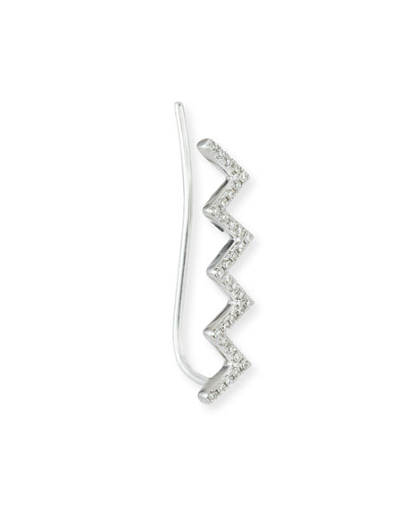 Zigzag Diamond Floating Ear Cuff