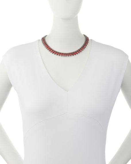 Monarch Pointed Choker Necklace, Red