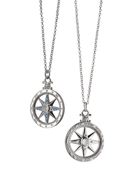 Sterling Silver Compass Necklace with Moonstone & Blue Sapphires