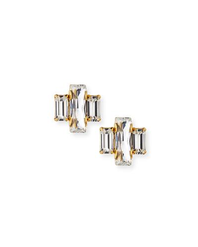 Crystal Baguette Trio Stud Earrings