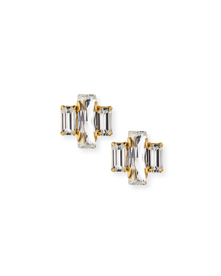 Crystal Baguette Trio Stud Earrings