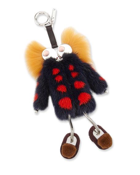 Girl Legs Mink-Coat Charm for Handbag, Navy/Red/Yellow