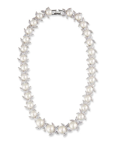 Monarch Crystal & Pearly Bead Choker Necklace