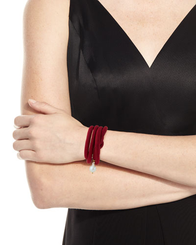 Woven Silk Bracelet with Pearl Charm