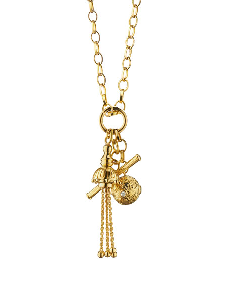 Monica Rich Kosann 18k Gold Tassel/Toggle/Ball Charm Necklace