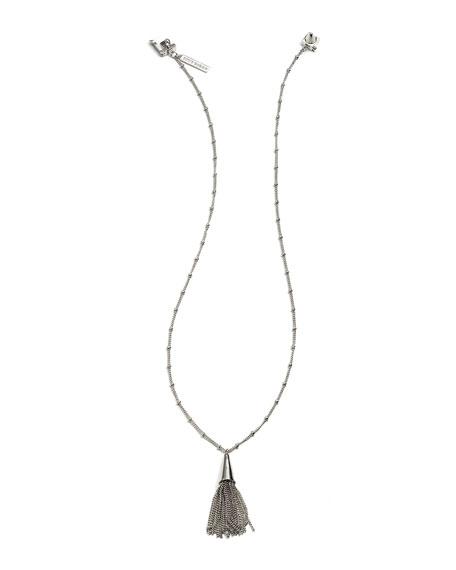 Eddie Borgo Small Silvertone Chain Tassel Pendant Necklace