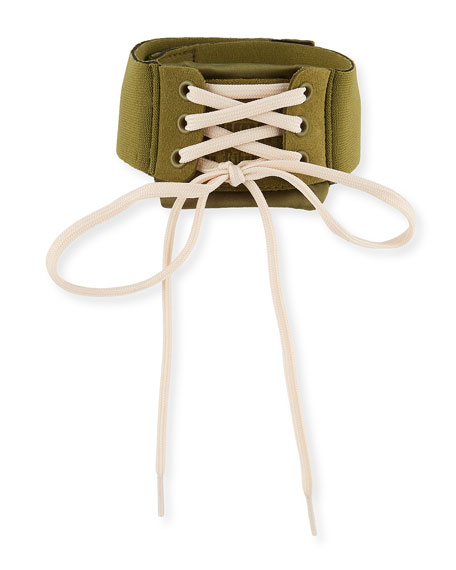 Lace-Up Choker Collar, Olive