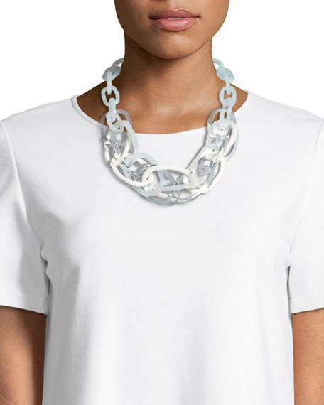 Lafayette 148  MULTICOLOR OVAL CHAIN LINK STATEMENT NECKLACE