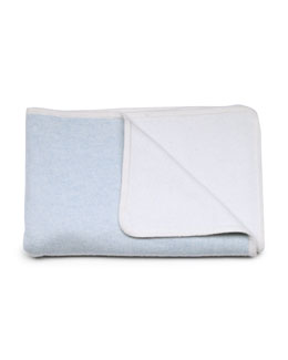 Baby CZ Reversible Cashmere Baby Blanket, Blue/Cream