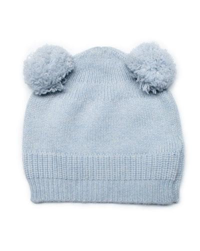 Cashmere Double-Pom-Pom Hat, Baby