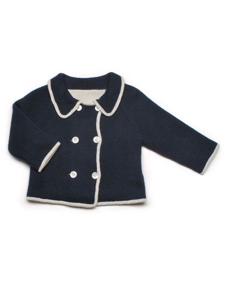Reversible Cashmere Cardigan, Navy/Cream, Baby